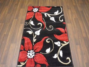 Modern Rugs Approx 5x2ft6 80cmx150cm Woven Thick best around Black/Red Lilys
